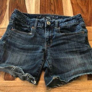 American Eagle Cut Off Midi Jean Shorts